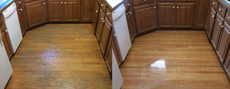 Hardwood floor refinished before and after shown