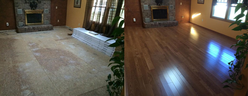 New or replacement hardwood flooring installations. Before and After shown