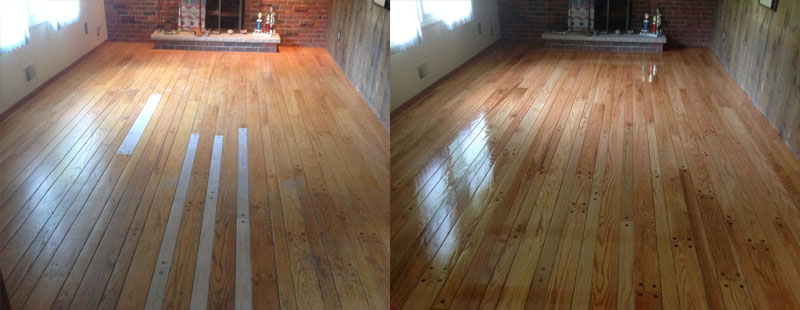 Hardwood floor repair before and after shown.